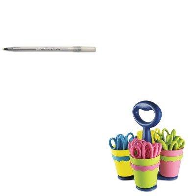 KITACM14755BICGSM11BK - Value Kit - Westcott School Scissor Caddy and 24 Kids Scissors With Microban (ACM14755) and BIC Round Stic Ballpoint Stick Pen (BICGSM11BK) by Westcott (Image #1)'