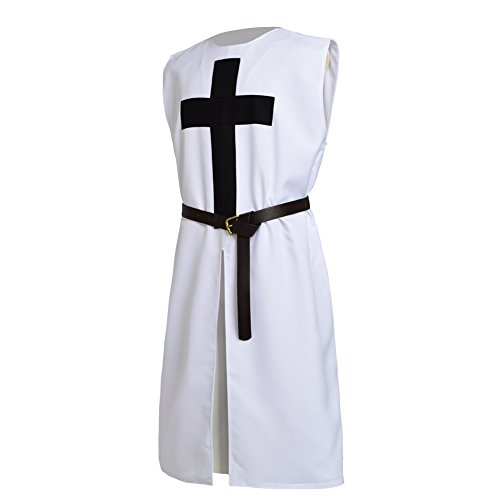 BLESSUME White Medieval Crusader Knight Tunic Belt (Mens Crusader Knight Costume)