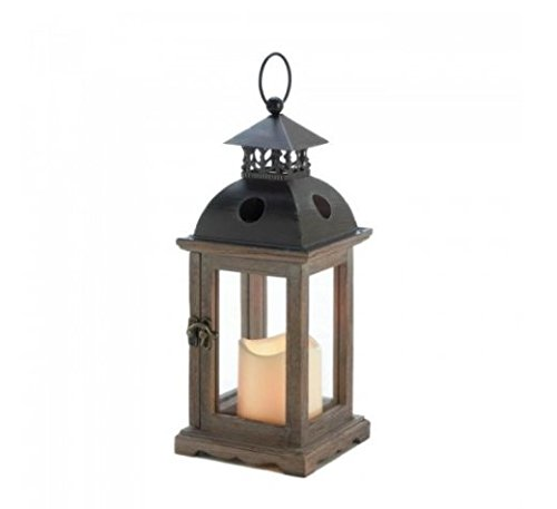 ticello Lantern With Led Candle home decor safe Iron Wood - Pine Glass Led Light 5.00