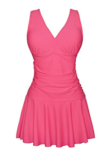 modest cute bathing suits push up swimdress all printing lace up beach wear for womens one piece Hot Pink Medium / 10-12