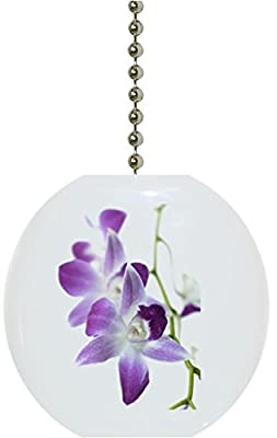 Purple Orchids Ceramic Fan Pull