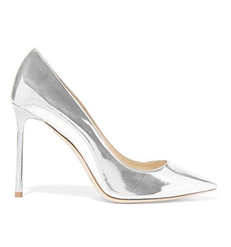 100mm on High Heel Kolnoo Parti Black Cuir Chaussures Femmes verni Slip silver wqqXZt0