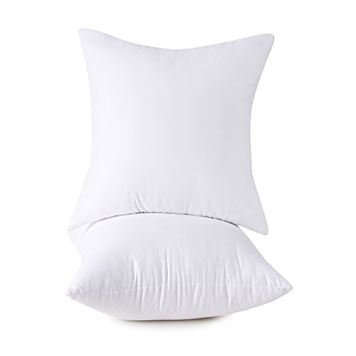 Set of 2, 100% Cotton Down Alternative Decorative Throw Pillow Insert, Square, 26x26 Inch