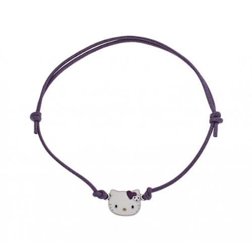 Hello Kitty - K5C008A - Bracelet Fille - Cordon Coton Violet - Pendentif Argent 925/1000