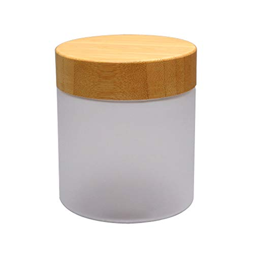 1PCS 250ML 8.5OZ Refillable Empty Frosted Plastic Cream Bottle with Bamboo Lid Moisturizer Face Cream Lotion Storage Holder Makeup Case Cosmetic Container Travel Jar Box Vials Pot