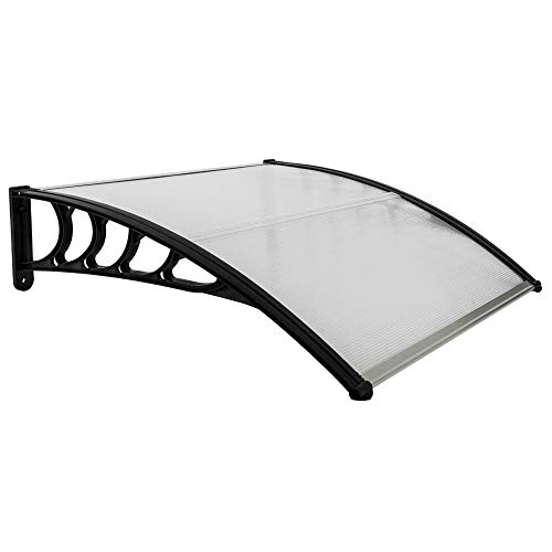 Goujxcy Window Awning Modern Canopy,39.37'' x 39.37'' Patio Door Awning Modern Polycarbonate Cover,Household Application Door & Window Rain Cover Eaves