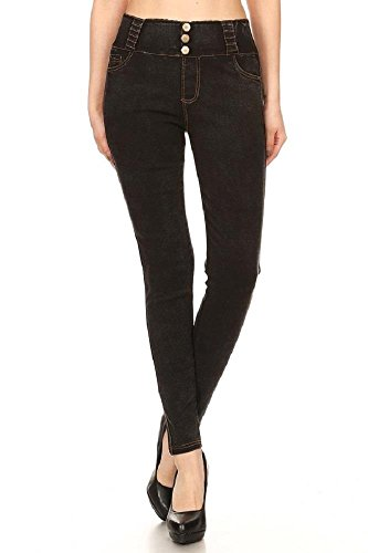 JVINI Women's Five Pockets Pull-On Stretchy Skinny Denim Jeans Legging Black L Leg Ankle Jean