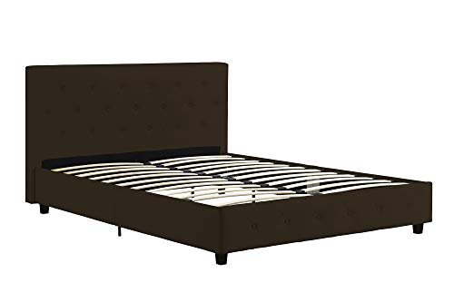 DHP Dakota Upholstered Faux Leather Platform Bed with Wooden Slat Support and Tufted Headboard and Footboard, Full Size - Brown