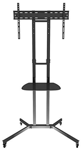 """Price comparison product image AVF WFSL500-A Mobile TV Cart TV Stand with TV Mount and Casters for 32-60"""" TVs. Black and Chrome."""