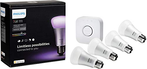 Philips 456194 Hue White and Color Ambiance Starter Kit, 4 A19 Bulbs and 1 Bridge, (2nd Generation), Compatible with Alexa and Apple Homekit (Renewed) by Philips (Image #3)