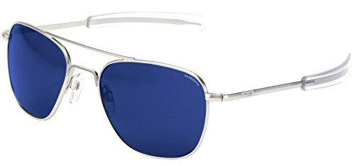 Randolph Aviator Matte Chrome Bayonet Temple Blue Sky Flash Mirror Non-Polarized Sunglasses