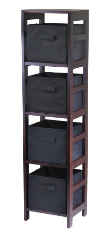 Winsome Wood Capri Wood 4 Section Storage Shelf with 4 Black Fabric Foldable Baskets (Storage For Baskets Fabric Shelves)