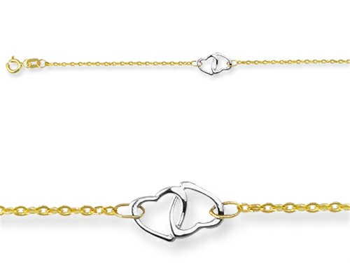 10 Inches 3 Double Hearts Adjustable Ankle Bracelet 14kt by Finejewelers