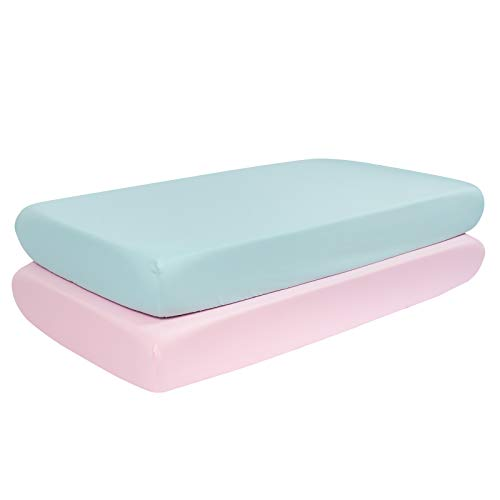 TILLYOU Silky Soft Microfiber Crib Sheets Set, Breathable Cozy Hypoallergenic Toddler Sheets for Girls, 28 x 52in Fits Standard Crib & Toddler Mattress,2 Pack Aqua & Jade Pink - Care Skin And Aqua Hair