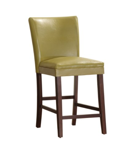 Homelegance 3276Y-24 Bi-Cast Vinyl Parson Counter Height Chair (Set of 2), Chartreuse Yellow