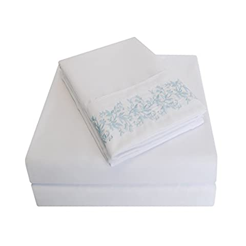Super Soft Light Weight, 100% Brushed Microfiber, Wrinkle Resistant, Queen 4-Piece Sheet Set, White with Light Blue Floral Lace Embroidery Pillowcases in Gift - Embroidery Box Set