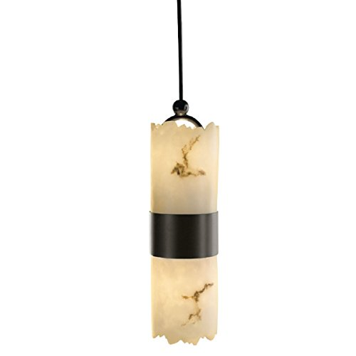 Justice Design Group - LumenAria Collection - Dakota Small Up & Downlight Pendant - Cylinder with Broken Rim - Dark Bronze Finish
