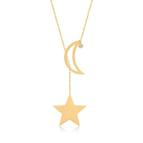 GELIN 14k Solid Gold 0,01 ct Diamond Moon Star Pendant Y Necklace for Women,18 inch