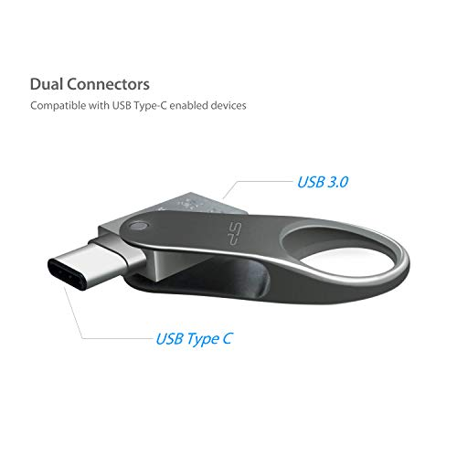 Silicon Power 128GB USB-C Type C USB 3.0/3.1 Gen 1 Dual Flash Drive, Mobile C80