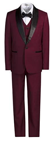 Boys Slim Fit Shawl Dinner Jacket Tuxedo Suit in Toddlers to Boys Sizing Burgundy (Shawl Tuxedo Satin Suit Black)