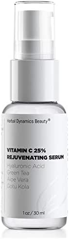 HD Beauty Brightening Serum with Vitamin C and Hyaluronic Acid - 25% Vitamin C, Green Tea and Vitamin B5 for Anti-Aging, Rejuvenating, Radiance and Facial Evenness, 1 oz