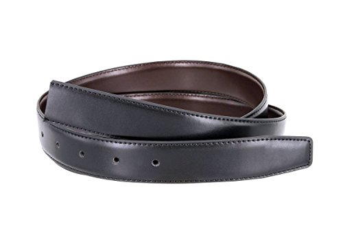 Smooth Reversible Leather Dress Casual Belt Strap for Men 1-1/8