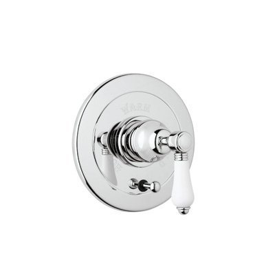 Rohl A7400LCAPC Country Bath Trim Kit for Pressure Balance with Integrated Volume Control with Crystal Lever and Diverter, Polished Chrome
