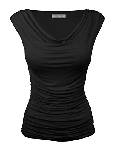 (CLEMONCE Women's Summer Ruched Cowl Neck Sleeveless Jersey Tank Top Black S )