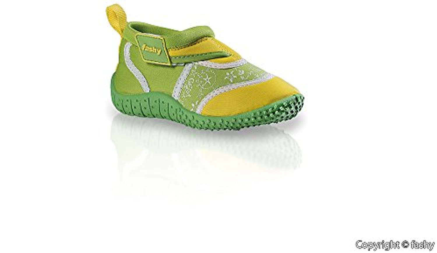 Fashy Kleinkinder Outdoor Sports and Schwimmschuhe Aqua Shoes Velcro and TPR sole Neoprene & Mesh, Children (Unisex), Blau/Gelb