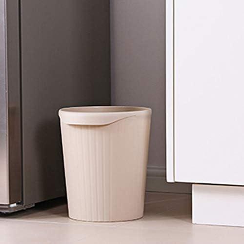 JSY クリエイティブキッチンホームリビングルームの寝室のバスルームトイレのオフィスのプラスチックカバーなしのサイズのゴミ箱 ごみ箱 (Color : Gray, Size : Large)