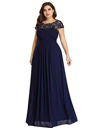Alisapan Lace Cap Sleeve Plus Size Long Formal Evening Gowns Prom Dresses 99931