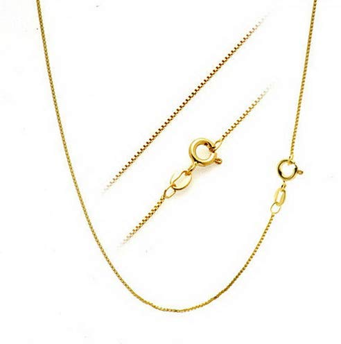 Florance jones 18K Gold Over Solid 925 Sterling Silver 1.1mm Thin Italian Box Chain Necklace | Model NCKLCS - 12533 | 30 - inch - 75cm
