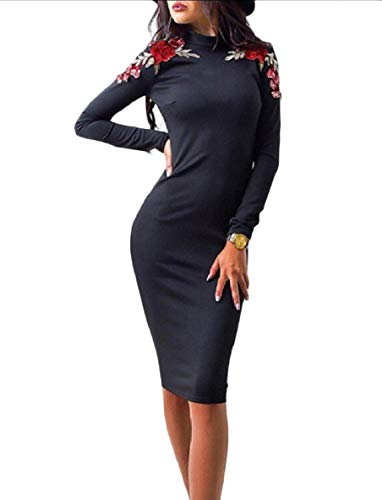 Slim Dress Tunic Skinny Women Party Black Sexy Coolred Embroidered Bodycon fF77wE