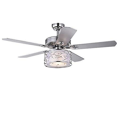 Warehouse of Tiffany CFL-8403REMO/CH Swerl 52-inch 1 Multi-Layered Shade (Includes Remote and Light Kit) Ceiling Fan, Silver ()