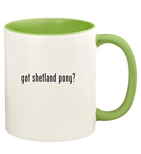 got shetland pony? - 11oz Ceramic Colored Handle and Inside Coffee Mug Cup, Light Green