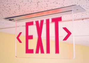 Recessed Edge Lit Exit Sign Red LED Bottom Access with Battery Backup ESW-ELR-Z