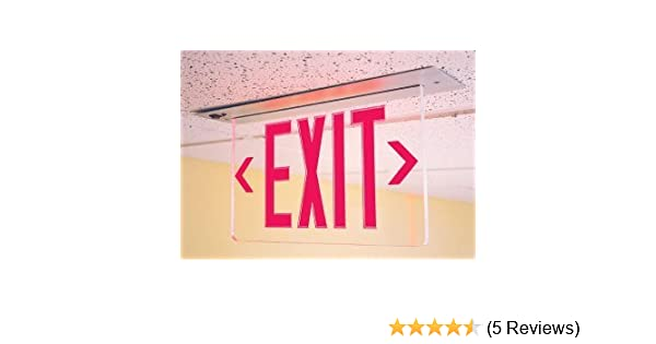 NYC Approved LED Recessed Edge Lit Exit Sign Red Lettering and Battery Backup