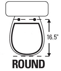TOPSEAT TinyHiney Potty Round Toilet Seat, Adult/Child, w/Slow Close Chromed Metal Hinges, Wood, White