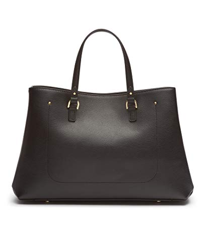 Calvin Klein Delancy Hermine Leather Organizational Satchel, Black/Gold