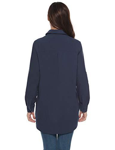 con ampia lungo bottoni a V vestibilità classica ufficio Business scuro manica lunga donna in Chic a Abollria Basic tunica Camicetta colletto cotone casual camicetta lunga elegante blu zqvfO6EYw