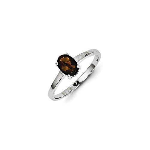 Mireval Sterling Silver Smokey Simulated Quartz Ring - Size 8