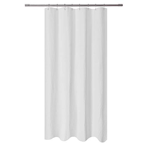 Stall Shower Curtain Fabric 48 x 72 inch, Waffle Weave, Hotel Collection, 230 GSM Heavy Duty, Water Repellent, Machine Washable, White Pique Pattern Decorative Bathroom Curtain