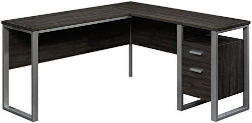 Sauder Rock Glen L Shaped Metal Framed Wooden Writing Desk in Black Walnut