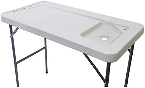 Aveland TIME BXTY118 Outdoor Folding Multifunctional Fish Table Picnic Table with Spray Gun & Faucet White Home