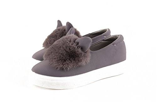 Woman 807gray Low New Ears Fashion VAO Slip Leisures Fur Shoes Shoes Boots Winter Cut ONS Lady Platform Casuals Real Female Shoes Beststore Flats BOTSqS
