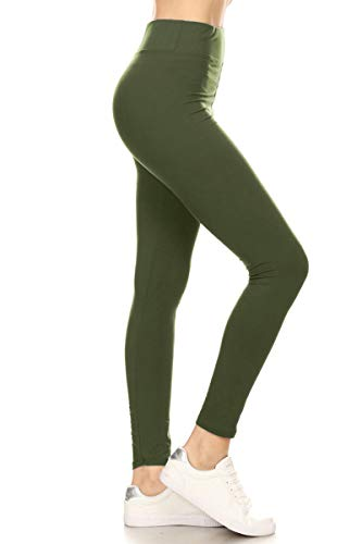 LYX128-OLIVE Yoga Solid Leggings, Plus Size]()