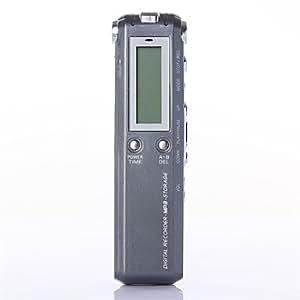 8 GB de alta definición digital de voz dictáfono grabadora estéreo profesional con mp3 y almacenamiento , Black