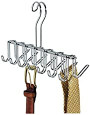 """iDesign Classico Metal Tie and Belt Hanger, Hanging Closet Organization Storage Holder for Belts, Men's Ties, Women's Shawls, Pashminas, Scarves, Clothing, Accessories, 10.25"""" x 3.75"""" x 6.75"""", Chrome"""