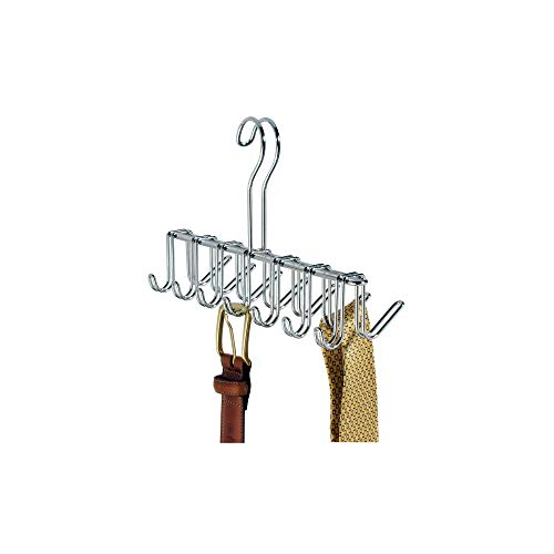 "interDesign Classico Metal Tie Hanger, Hanging Closet Organization Storage Holder for Belts, Men's Ties, Women's Shawls, Pashminas, Scarves, Clothing, Accessories, 10.25"" x 3.75"" x 6.75"" Chrome"