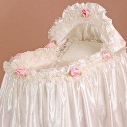 Babykidsbargains Bride's Rose Bassinet Liner Skirt and Hood, 13'' x 29''